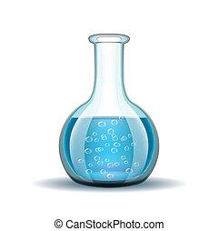líquido azul, frasco, químico, laboratório, transparente
