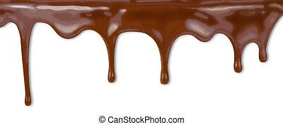 líquido, chocolate, gotejando, de, bolo, branco, fundo, com, caminho cortante, included., alto, resolução, illustration.