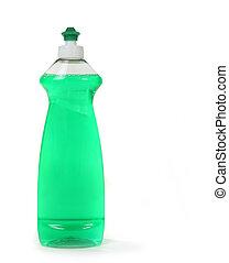 líquido dishwashing, aislado, verde, botella, jabón