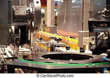 líquido, enchimento, máquinas, e, embalagem, em, indústria,...