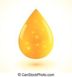 líquido, gota, isolado, amarela, vetorial, branca