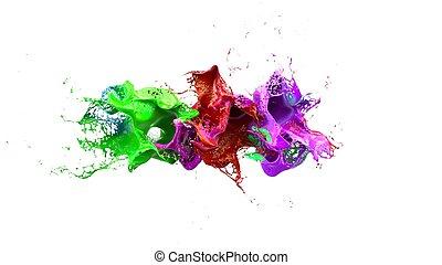 líquido, ilustración, tinta, eplosion., colorido, 3d