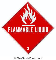 líquido inflamável, sinal