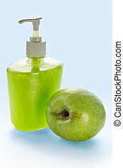 líquido, maçã, creme, sabonetes