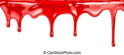 líquido, pintura vermelha, gotejando, branco, fundo