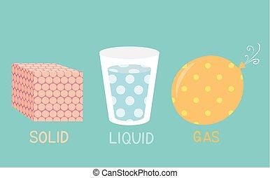 líquido, sólido, gás, ilustração, materiais, moléculas, ensinando