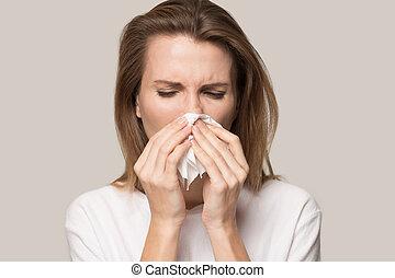 líquido, tejido, mujer, nariz, soplar, enfermo, uso, joven
