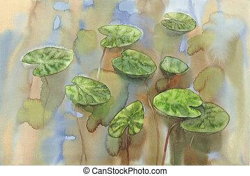 lírio água, folhas, aquarela