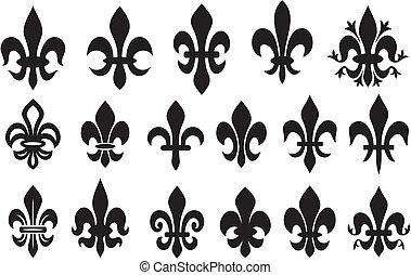 lírio, flor, -, heraldic, símbolo