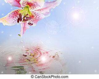 lírio, floral, convite