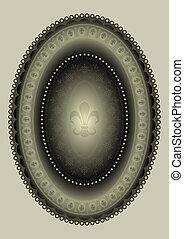 lírio, quadro, oval, heraldic
