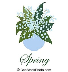 lírios, buquet, folhas, vaso, experiência., branca