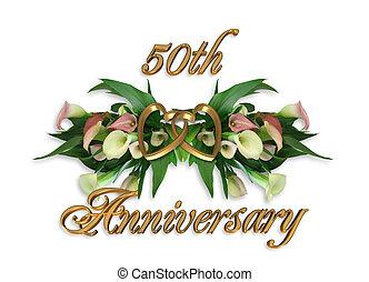 lírios, calla, aniversário, 50th