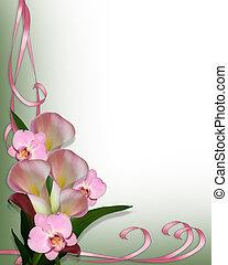 lírios calla, borda, orquídeas