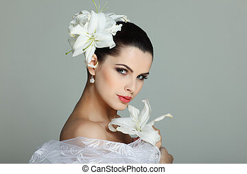 lírios, casamento-vestido, cabelos, elegante, morena, sexual