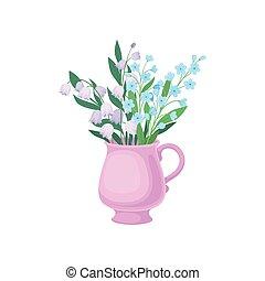 lírios, ilustração, experiência., vetorial, mug., cornflowers, branca, vale
