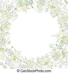 lírios, quadrado, saudação, stylized, ervas, cartão, floral,...