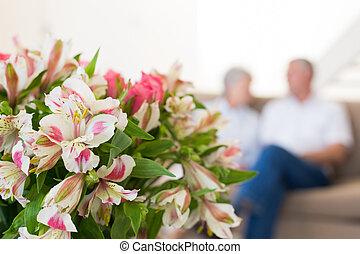 lírios, rosas, buquet, cor-de-rosa