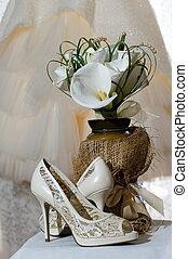 lírios, sapatos, buquet, calla, casório, nupcial