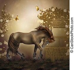 ló, alatt, egy, agancsrózsák, kert