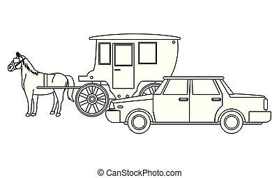 ló, autók, jármű, csapágyak, fekete, fehér