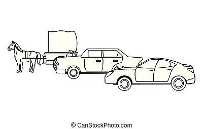 ló, classic autó, jármű, fekete, csapágyak, fehér
