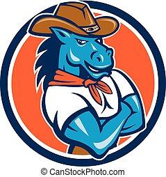 ló, cowboy, fegyver kereszteződnek, karika, karikatúra