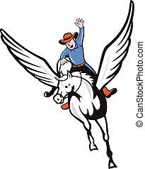 ló, cowboy, repülés, pegazus, lovaglás, karikatúra