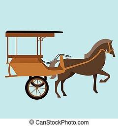 ló, delman, öreg, indonézia, kordé, hagyományos, kocsi, vektor, ázsia, szállítás