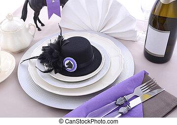 ló, ebéd, hölgyek, faj, asztal, setting., nap