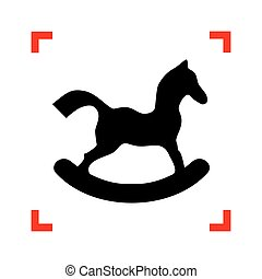 ló, játékszer, kanyarodik, cégtábla., összpontosít, háttér., fekete, fehér, ikon