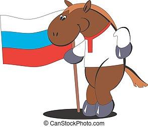 ló, lobogó, 012, karikatúra, oroszország