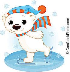 lód łyżwy, polarny miś