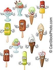 lód, desery, projektować, litery, rysunek, śmietanka