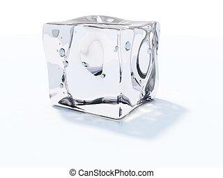 lód sześcian, odizolowany, na białym