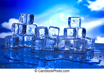 lód, wytop, kostki
