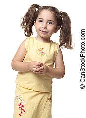 lófarkak, kicsi lány, meglehetősen, mosolygós