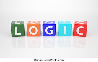 lógica, saída, dices, letra, multicolored