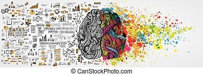lógico, empresa / negocio, mitad, cerebro humano, vector, side., infographic, comunicación, aboud, izquierda, trabajo, derecho, lógica, ilustración, mind., creativo, social