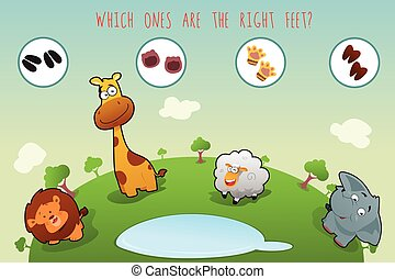 lógico, série, de, coloridos, animais