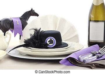 lóverseny, nap, hölgyek, ebéd, asztal, setting.