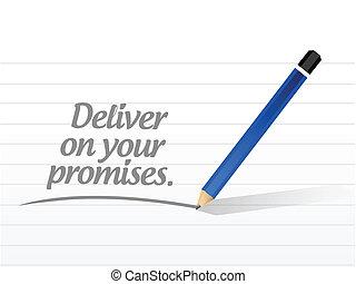 löften, leverera, meddelande, illustration, din