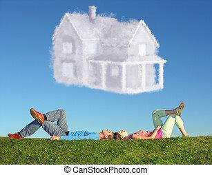 lögnaktig, par, på, gräs, och, dröm hus, collage