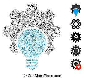 lök, ikon, drev, lucka, collage, konfiguration