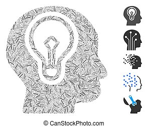 lök, ikon, mosaik, huvud, lucka, lampa