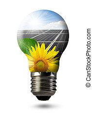 lök, med, av, solar panel