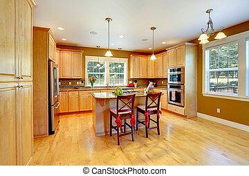 lönn, upplagring rum, kombination, kök