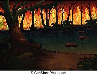 löpeld, katastrof, skog