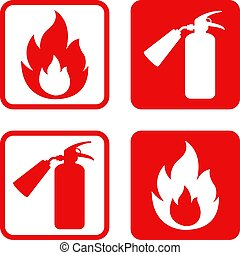 löscher, feuer, vektor, sicherheit, flamme, aufkleber