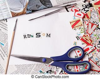 lösegeld, inschrift, gemacht, mit, ausschneiden, briefe